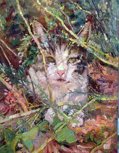 """Janet Greco    """"Jingle in the Jungle""""  14"""" x 11"""" oil"""