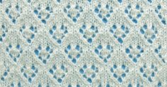 The Lacy Diamond Stitch. This pattern is worked in a multiple of 8 sts, plus 9. Repeat 16 rows.