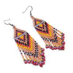 Long Native American  Seed Bead Earrings in peach by Anabel27shop, #beadwork