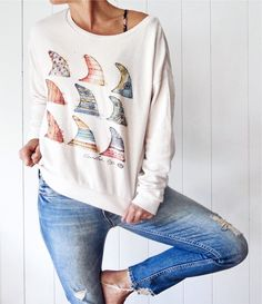 This sweatshirt features artwork from Rebekah Steen of Goldfish Kiss and is the perfect element to bring a little island paradise to wherever you are. Cool Outfits, Summer Outfits, Surf Shirt, Outfit Invierno, Mother Denim, Mama Shark, Shark Shark, Shark Bait, Shark Week