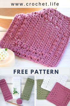 Cottage Row Puff Stitch Dishcloths is a great free crochet pattern that anyone can make! Diy Crochet Washcloth, Crochet Towel, Crochet Dishcloths, Quick Crochet Gifts, Easy Crochet, Free Crochet, Diy Crochet Projects, Diy Crochet Patterns, Puff Stitch Crochet