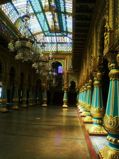 Ballroom inside Mysore Palace, Karnataka, India ~ photo by profmpc (MP Chandrasekharan).