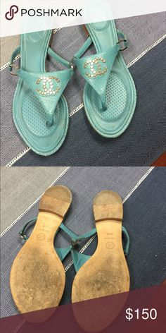 Chanel sandals Snakeskin Chanel sandals. Excellent worn condition CHANEL Shoes Sandals