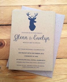 50 Personalised Wedding Invitations Day or Evening Stags Head Rustic Brown | eBay