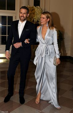Blake Lively accidentally flashes her Spanx in plunging silver robe while joining husband Ryan Reynolds at state dinner for Canadian Prime Minister | Daily Mail Online