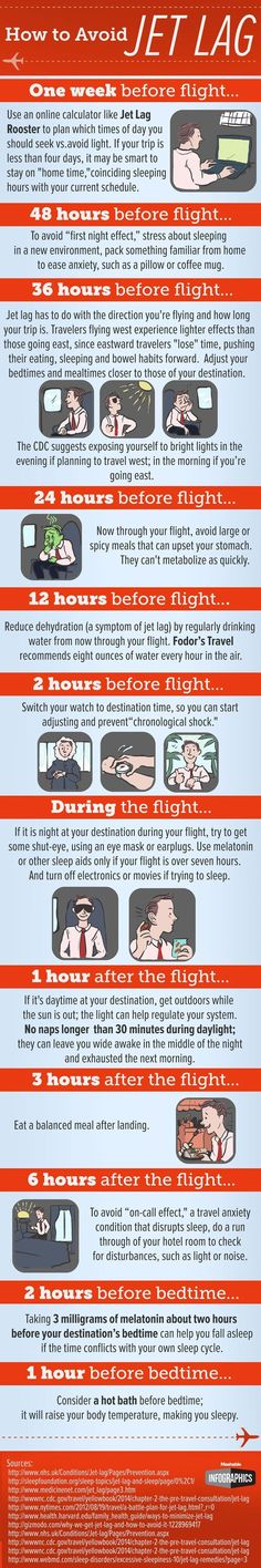 Jet lag can be a downer on an otherwise exciting vacation. We found a couple infographics that illustrate some of the best ways to beat jet lag. Take a look at these tips to help you fight through jet lag when you travel. Travel Info, Air Travel, Travel Packing, Travel Advice, Japan Travel, Travel Hacks, Packing Tips, Europe Packing, Traveling Europe