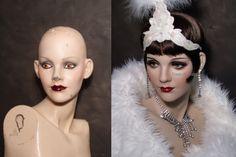 Restored vintage mannequin before & after