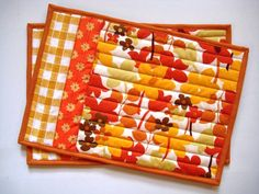 "Quilted Placemats, Snack Mats, Mug Rugs, Bright Orange Retro, 9""x13"""