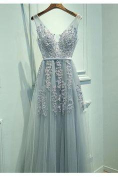 A-Line Prom Dress,V-Neck Prom Gown,Sleeveless Prom Dress,Gray Prom Dress,Long Prom Dress,Lace Prom Dress,Charming Prom Dress,Tulle Prom Dress,Prom Dresses