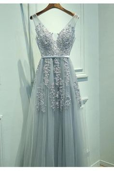 A-Line Prom Dress,V-Neck Prom Gown,Sleeveless Prom Dress,Gray Prom Dress,Long Prom Dress,Lace Prom Dress,Charming Prom Dress,Tulle Prom Dress,Prom Dresses