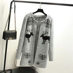 2016 New Autumn Spring Women Sweater Cardigans Casual Warm Long Design Female Knitted Sweater Printed Cardigan Sweater