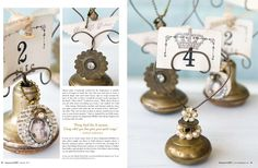 How fun are these?  Drawer knobs up-cycled into place cards. Somerset Life Autumn 2011 - Stampington