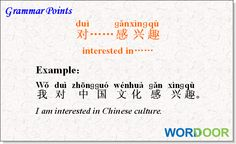 Wordoor Chinese - Grammar points# interested in .......