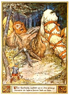 Illustrations from The Heroes of Asgard by C.E. Brock  Thor and the Giant Skrymir