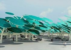 Shade + renewable energy= solar forest.  I think every parking lot should have one, personally. spheniscid