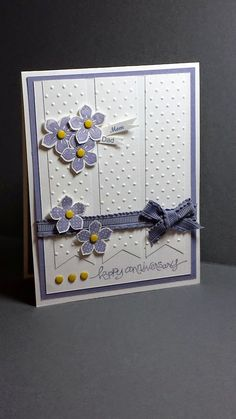 Stamp With Me Cindy G - Petite Petals stamp set and punch from Stampin' Up! are featured on this anniversary card along with Daffodil Delight candy dots and Wisteria Wonder ribbon. Wisteria Wonder Card stock and ink are also used along with Whisper White.