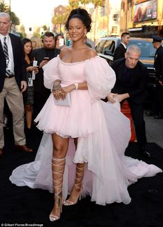 Movie star! Rihanna, 29, looked like a glamorous Hollywood starlet in a pink off-the-shoulder gown for the premiere of her new film Valerian and the City of a Thousand Planets in Hollywood on July 17, 2017