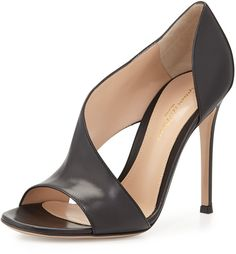Leather Open-Side Sandal, Black by Gianvito Rossi at Neiman Marcus. Sergio Rossi, Buy Shoes, Me Too Shoes, Women's Shoes, Black Sandals, Leather Sandals, Suede Boots, Stiletto Heels, High Heels