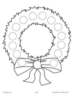 FREE Printable Wreath Do-A-Dot Printable! Christmas dot coloring pages like this are perfect for toddlers and preschoolers to practice fine motor skills and more! Get all 10 Christmas Do A Dot Printables for FREE here --> https://www.mpmschoolsupplies.com/ideas/7871/10-free-christmas-do-a-dot-printables/