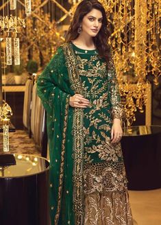 Fully embroidered elegant natural green handmade front back Pakistani designer clothes with chiffon dupata and embroidered grip trouser Pakistani Designer Clothes, Pakistani Clothes Online, Pakistani Dress Design, Pakistani Designers, Pakistani Outfits, Designer Dresses, Designer Wear, Designer Salwar Kameez, Pakistani Couture