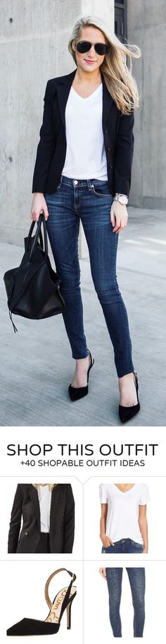 #winter #outfits / Black Blazer / Navy Skinny Jeans / Black Pumps / Black Leather Tote Bag / White Top