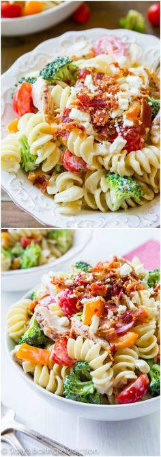 This simple pasta salad has the works! Bacon, crisp peppers, broccoli, feta cheese, grilled chicken, and tomatoes covered in a creamy buttermilk greek yogurt dressing. Easy, quick, and makes great leftovers.