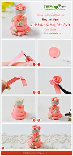 Tutorial for 3D cake quilling paper craft from LC.pandahall.com