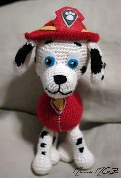 Zita and Bolita: Marshall Paw Patrol Crochet Animals, Crochet Toys, Free Crochet, Cross Stitch Patterns, Patron Crochet, Dog Keychain, Crochet Disney, Dog Pattern, Crochet Hat Patterns