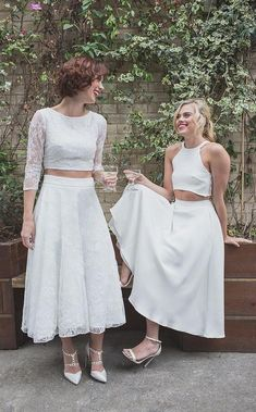 Beautiful lesbian wedding style by House of Ollichon. Pretty crop tops and skirts in a range of mix and match styles. Ditch the traditional wedding dress and rock your own unique look. Lgbt Wedding, Wedding Gowns, Wedding Menu, Wedding Outfits, Wedding Planner, Top Wedding Trends, Wedding Styles, Lesbian Wedding Photography, Bridal Photography