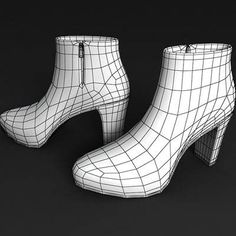 The 3D model of a Brown high heel shoe boots