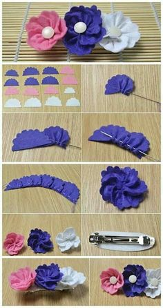 Best 12 Cloth flower making is fun and easy. These cloth flowers look so pretty and are great for adding to brooches, hair clips and necklaces. Ribbon Sakura or plum blossomsThis Pin was discovered by Flo - Salvab Cloth Flowers, Felt Flowers, Diy Flowers, Fabric Roses Diy, Fabric Flower Tutorial, Ribbon Crafts, Flower Crafts, Felt Crafts, Diy Hair Bows
