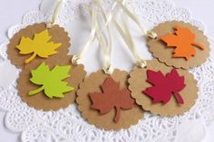 Autumn Leaf Tags Scallop Tags Fall in Love by AthenasCraftRoom
