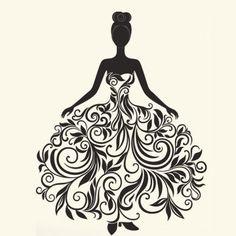 StickersKart Wedding Gown Wall Sticker