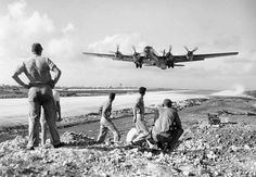 B-29 Superfortress taking off from Saipan, December 1944.