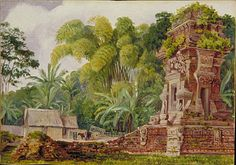 Small Hindu Temple of Kidel. Java. Marianne North.