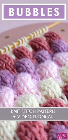 Bubble Knit Stitch Pattern with Easy Free Pattern + Knitting Video Tutorial by Studio Knit. #easycrochet