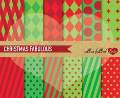 Christmas Background Patterns Graphics 12 Printable Digital Scrapbooking Papers :: Xmas COLLECTION ::High Quality 300 dpi jpg files - Let by All is full of Love