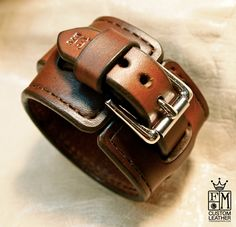 Leather cuff Bracelet custom crafted in NYC. $125.00, via Etsy.