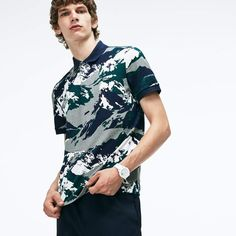 beb6729335 Lacoste Men's Regular Fit Alpine Print Mini Pique Polo Pique, Lacoste Pour  Hommes, Mini