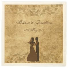 NEW at Zazzle! Brown Vintage paper Parchment and vines with Bride & Groom Wedding Once upon a time Paper Napkins set by #PLdesign #OnceUponaTime #VintageWedding #Wedding #Vintage #PaperNapkins