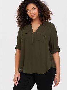 ea780730 Harper - Olive Georgette Pullover Blouse, Career Wear, Plus Size Tops, Plus  Size