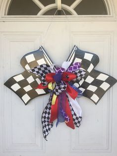 NASCAR NASCAR Door Hanger NASCAR Checkered Flag by SassyHangUps