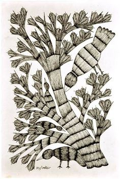 Buy Gond Tribal Painting Sparrows on Tree Online from Ganges India at best prices. Tribal Art, Line Drawing, Drawing Stuff, Gond Painting, Madhubani Art, Indian Artist, Art N Craft, Bird Tree, Indian