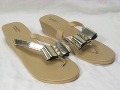 Gold Flip Flops 9.5 10 Simply Vera Wang Shoes Sandals Bows Bling Metallic #SimplyVeraVeraWang #FlipFlops #Casual
