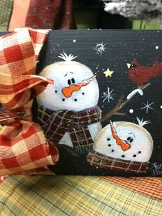 Hand painted snowman trinket box. Created and sold at Rosi's Cottage Treasures. Located at 434 South Main St North Syracuse NY 13212.