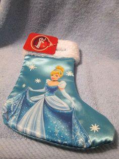 (NEW) DISNEY MINI CHRISTMAS STOCKING (BLUE CINDERELLA) Mini Christmas Stockings, Cinderella, Holiday Decor, Disney, Blue, Ebay, Shopping, Disney Art
