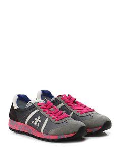 PREMIATA - Sneakers - Donna - Sneaker in camoscio, pelle e tessuto tecnico con suola in gomma loggata. Tacco 30, platform 20 con battuta 10. - 1314 ROSAANTRACITE - € 185.00