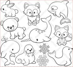 Arctic Animals Digital Stamps Clipart by pixelpaperprints - Education Clipart, Stamp World, Arctic Animals, Digital Stamps, Art Images, Embroidery Patterns, Ribbon Embroidery, Machine Embroidery, Painted Rocks
