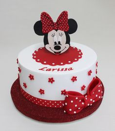 Minnie Mouse Party More decorating ideas on albums: Minnie Mouse Party 1 Bolo Da Minnie Mouse, Mickey And Minnie Cake, Bolo Mickey, Mickey Mouse Cupcakes, Mickey Cakes, Mini Mouse Birthday Cake, Mini Mouse Cake, Baby Birthday Cakes, Mickey Birthday
