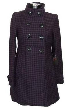 New Womens Purple Black Dogtooth Check Wool Mix Coat.